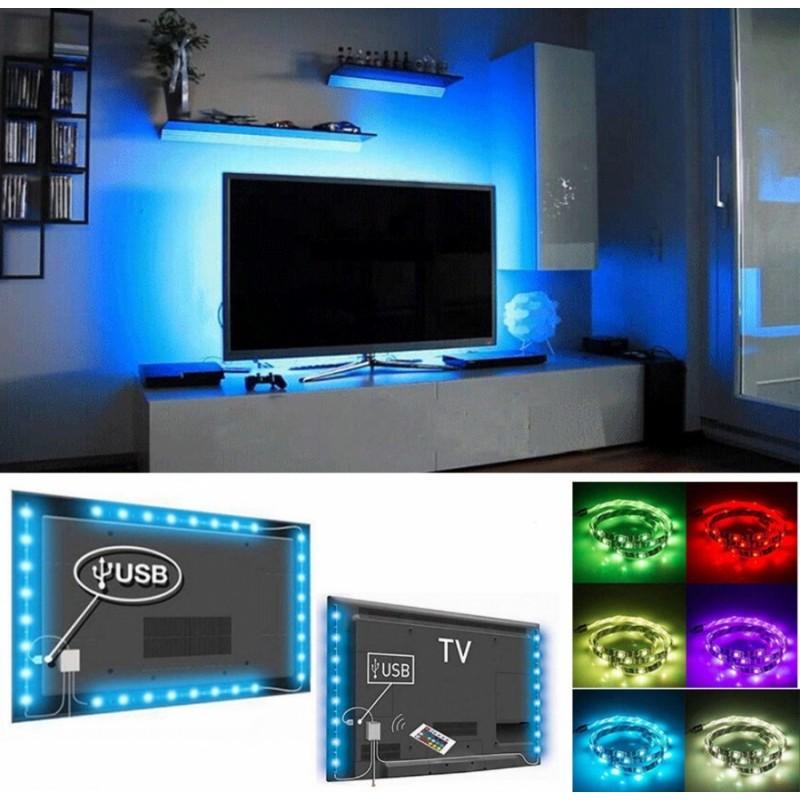 LED szalag, TV-re rögzithető hangulatlámpa táv...