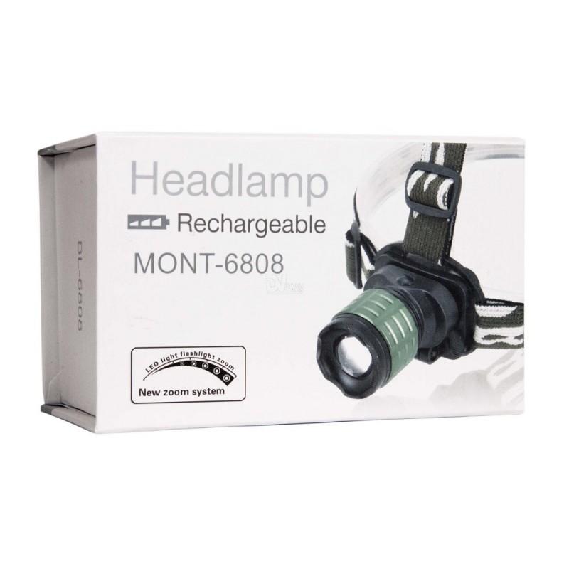Led-es akkumulátoros fejlámpa MONT-6808