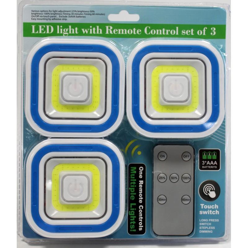 Vezeték nélküli LED lámpa szett távirányítóval (3 darab fényforrással)