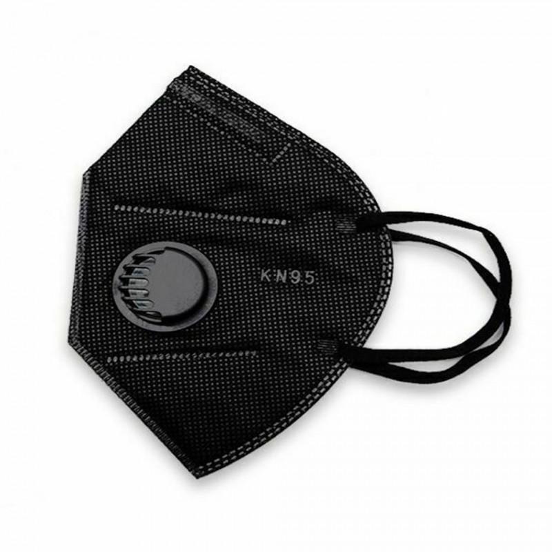 Black KN95 FFP2 Szelepes maszk Fekete 10db