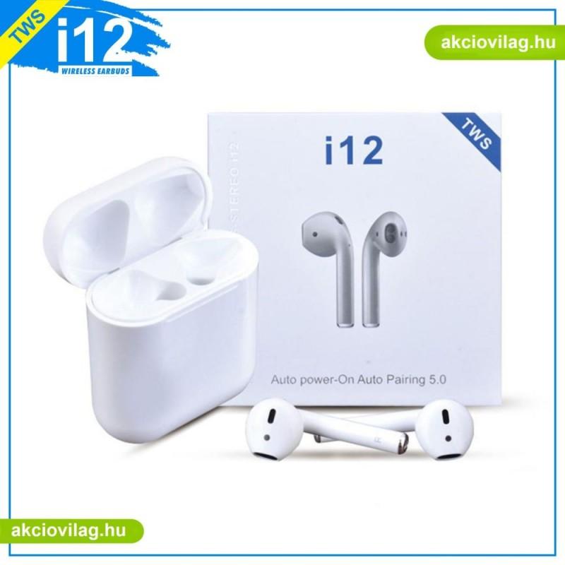 i12 TWS Bluetooth fülhallgató, fehér