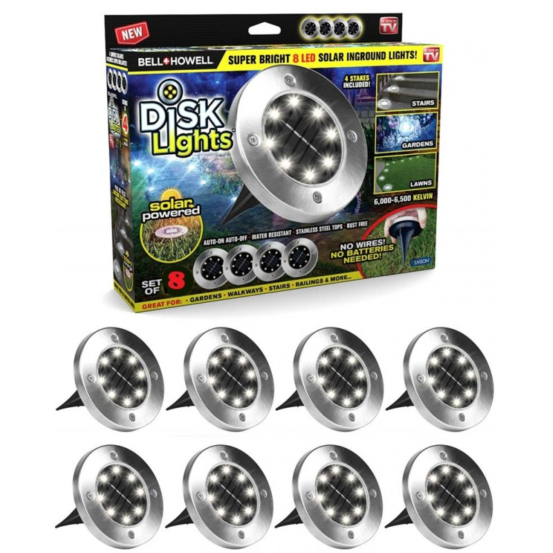 Disk Lights 8 db multifunkcionális LED-es szolár...