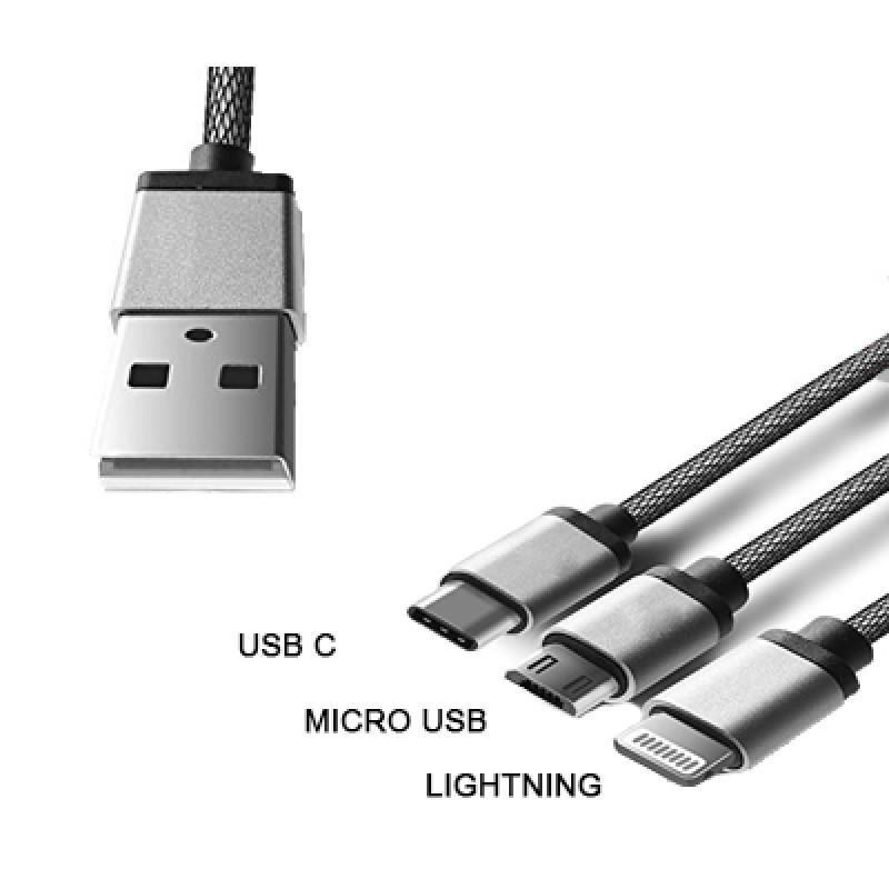3 az 1-ben USB töltőkábel/USB C/Micro USB/Light...