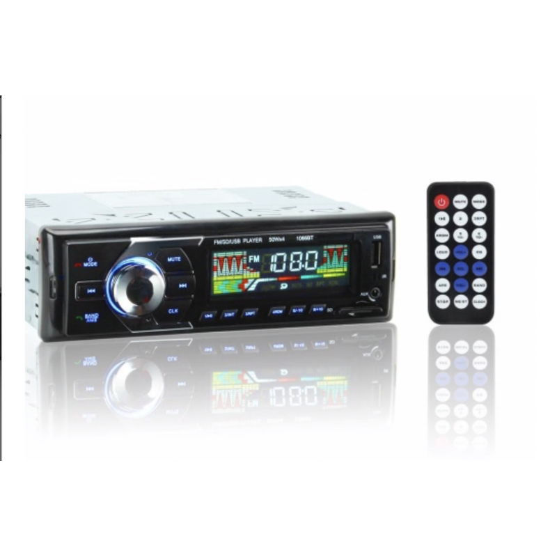 1066BT 12V autórádió, MP3 lejátszó, BT telefon, USB / SD MMC, 1 DIN vezeték nélküli távirányító