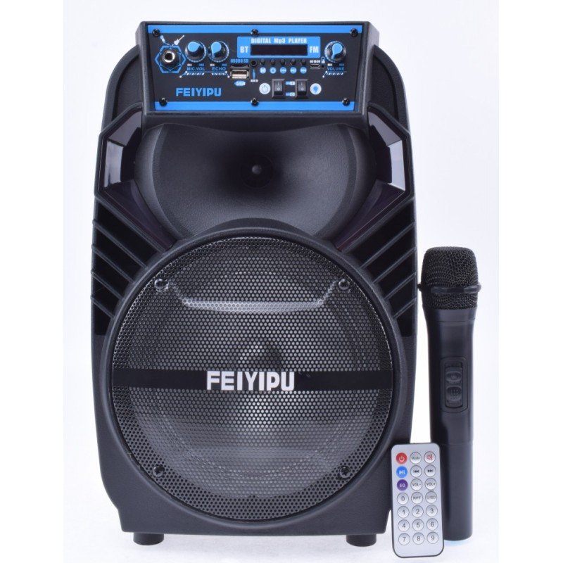 FEIYIPU ES-03S hordozható karaoke surround, Bluetooth, Aux bemenet, USB, TF / SD kártya, hangszínszabályzó, led, mikrofon, FM rádió