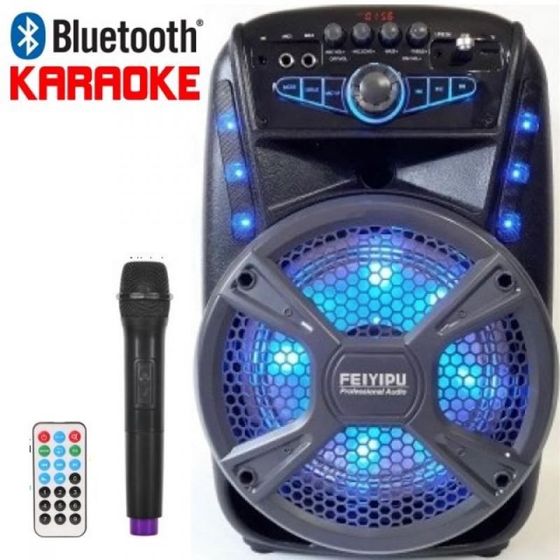 FEIYIPU ES-81 hordozható karaoke surround, Bluetooth, Aux bemenet, USB, TF / SD kártya, hangszínszabályzó, led, mikrofon, FM rádió