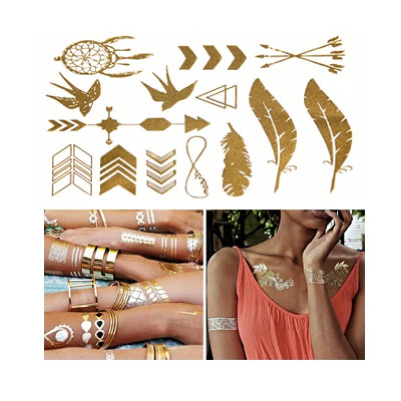 Arany és Ezüst színű öntapadó tetoválás cs...