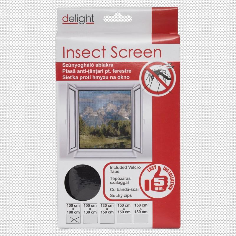 Szúnyogháló ablakra fekete - 100x100 cm