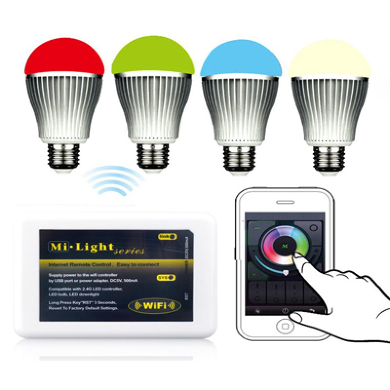 4 db Wifi vezérlésű LED izzó E27-es foglalatta...